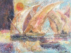 Boats at Sea, Stylised Pointillist Oil Painting