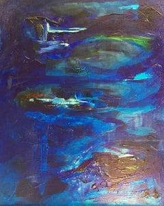 Open Blue, Abstract Oil Painting, Signed