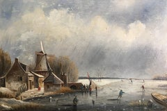 The Frozen Lake, Victorian Landscape, Oil Painting