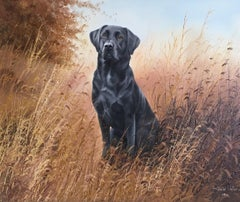 Black Labrador, Dog Portrait, Impressionist Oil Painting, Signed