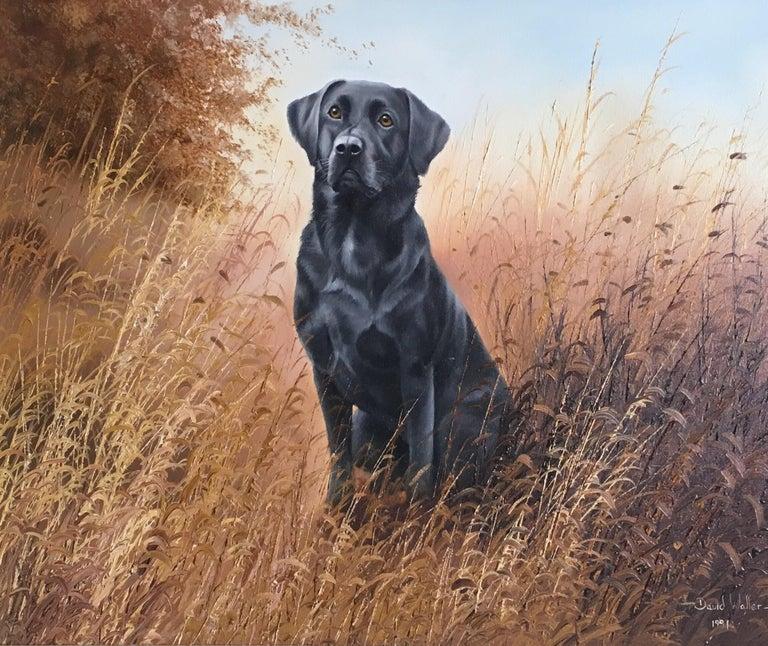 Black Labrador, Dog Portrait, Impressionist Oil Painting, Signed