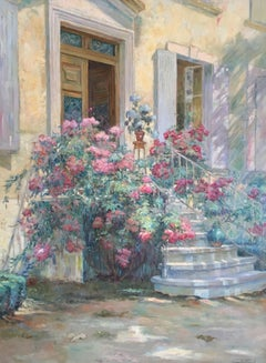 French Front Doorway, Impressionist Oil Painting, Signed