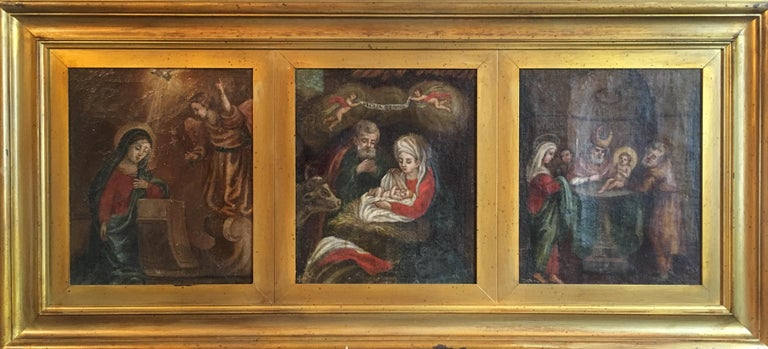 Birth of Christ, Religious Triptych Antique Oil Painting