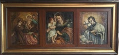 Saint Joseph, Religious Triptych Antique Oil Painting