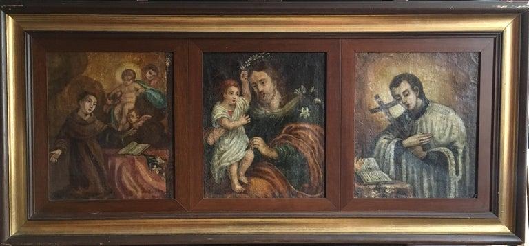 Saint Joseph, Religious Triptych Antique Oil Painting