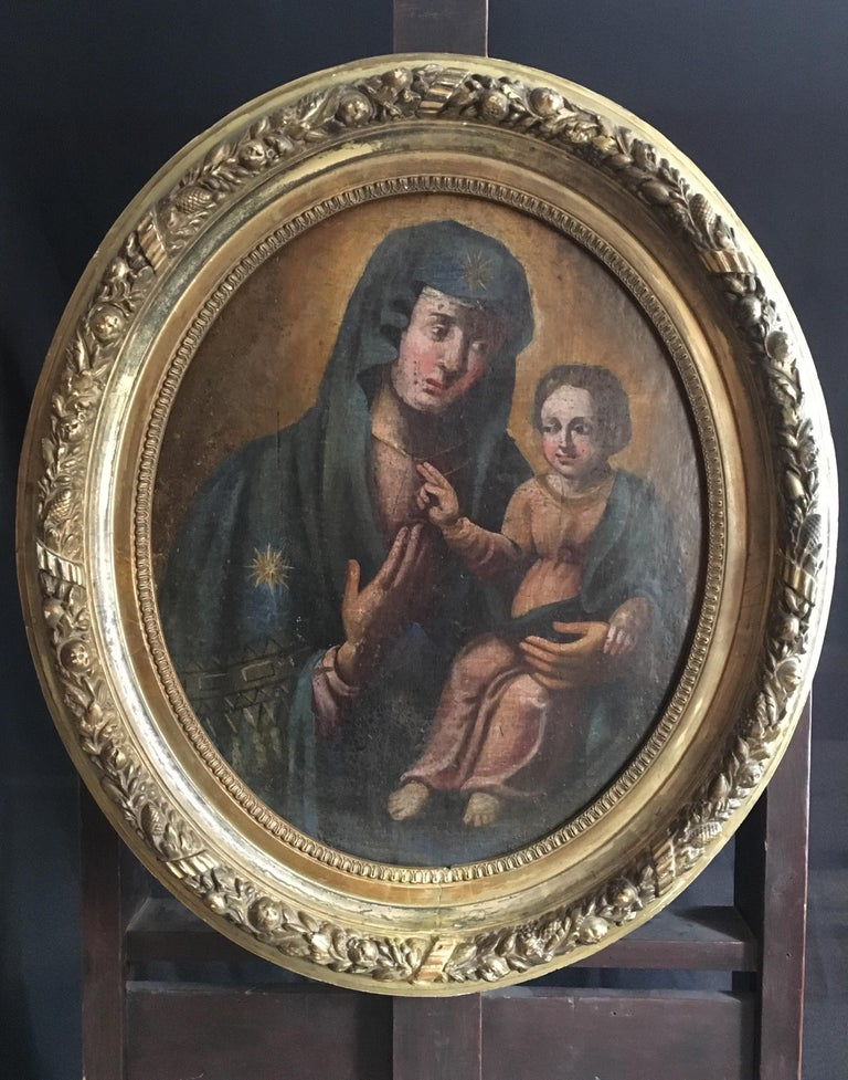 Virgin and Child, 18th Century Portrait of Mary and Jesus, Oval Oil Painting