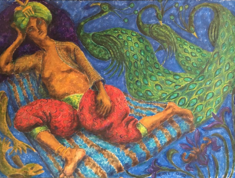 Arabian Night, Stylised, Bright Colours, Oil Painting, Signed