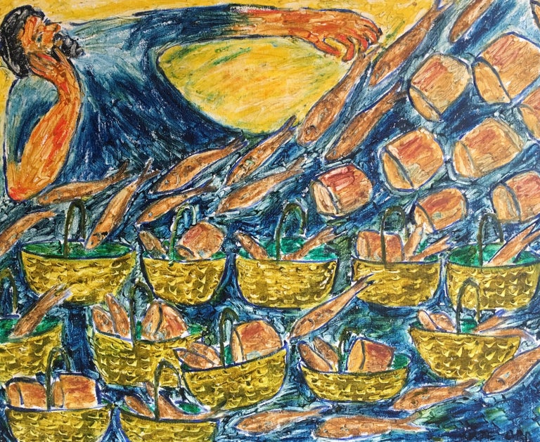 Fish and Loaves, Surrealist Abstract Oil Painting, Signed