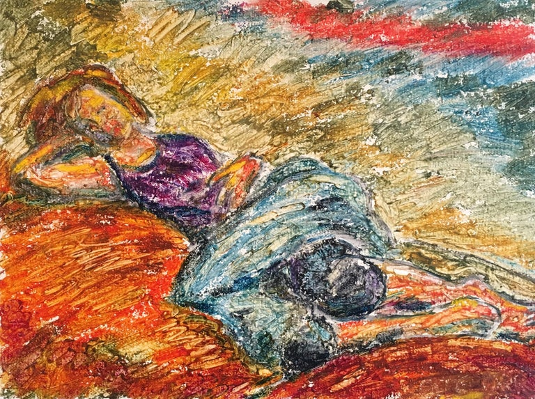 Light Sleep, Surrealist Impressionist Oil Painting, Signed