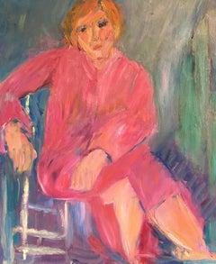 Pink Lady, Impressionist Portrait, Oil Painting