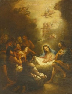The Adoration of the Shepherds, Fine 1700's Old Master oil painting