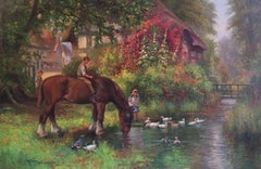 The Village Stream, Impressionist Edwardian Oil Painting, Signed