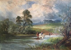 Horse Crossing the River, Victorian Landscape signed oil painting on canvas