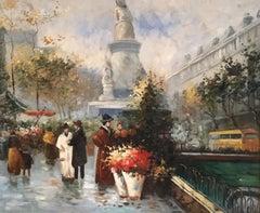 Paris Flower Market, Impressionist Cityscape, Oil Painting