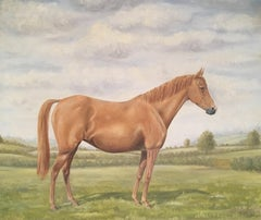 Equestrian Portrait, Toffee Coloured Horse Still Life, Signed Oil Painting