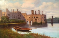 Leeds Castle, Kent, Fine British Antique Oil Painting, Signed