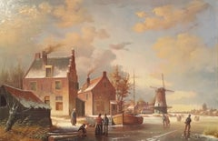 Frozen Stream, Victorian Style Dutch Oil Painting, Signed