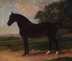 'Harvester' Equestrian Portrait, Horse Still Life, Signed Oil Painting Green