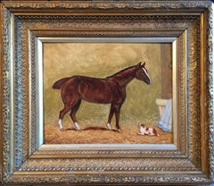Horse & Dog, Antique English Oil Painting Signed and Framed