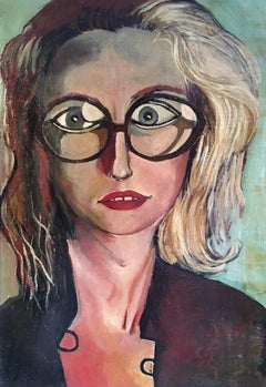 The Girl With The Glasses, 1960's Stylised Portrait, Signed Oil Painting