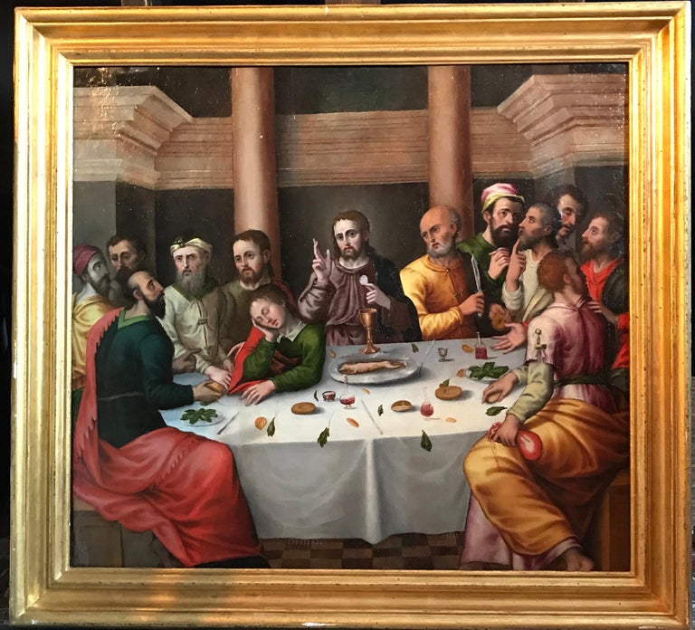 The Last Supper, circa 1500, Important Early Old Master Oil Painting - Brown Figurative Painting by Workshop of Juan de Flandes