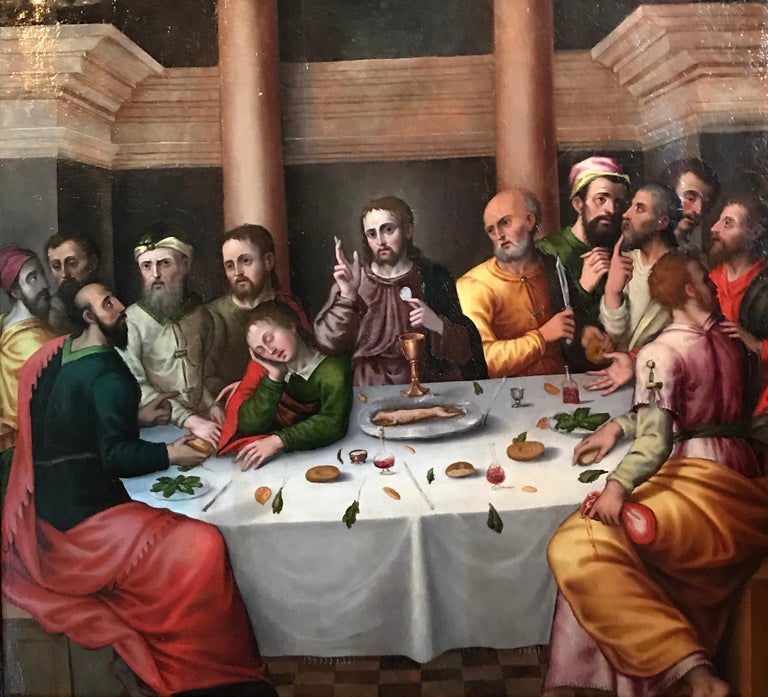 The Last Supper Workshop of Juan de Flandes (Netherlands, circa 1460-1519) oil on panel, framed framed size: 32 x 35 inches provenance: private collection, France  Very rare early Old Master oil painting dating to circa 1500. The work can be