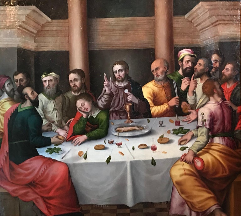The Last Supper, circa 1500, Important Early Old Master Oil Painting For Sale 1