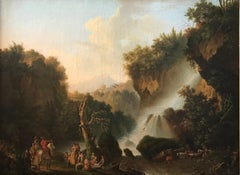 The Waterfall at Terni, Italy. 18th Century Large Scale Oil Painting