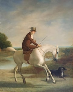 The Rider, Fine Portrait Lady Side Saddle, Oil Painting, Equestrian Themed