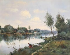 'Le Seine a Herblay' Impressionist Landscape, Signed Oil Painting