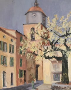 Mediterranean Town, Mid 20th Century Impressionist Original Oil Painting