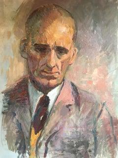 Sombre Gentlemen, Mid 20th C. Male Portrait, Original Impressionist Oil Painting