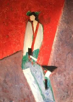 Japanese Kimono, Stylish Abstract Impressionist Portrait, Original Oil Painting