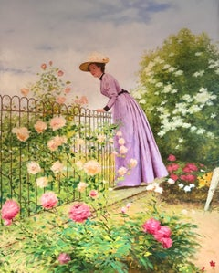 Lady in Floral Garden, Large Oil Painting on Canvas