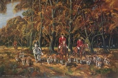 The Beech Wood, Equestrian Hunting Sport Large Oil Painting, Signed