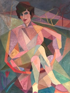 Huge Cubist 1960's Portrait of Lady in Landscape, Oil Painting on Canvas