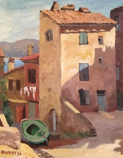 Mediterranean Architecture, Landscape Oil Painting, Signed and Dated