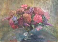 Floral Still life, English Impressionist Oil Painting, Signed