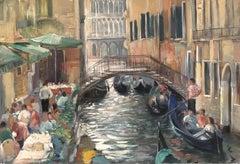 Venice Cafes, Impressionist Landscape Original Oil Painting, Signed