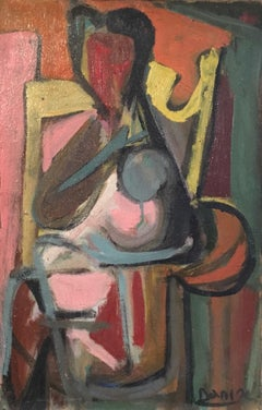 Mother and Child, Abstract 1960s Colourful Oil Painting, Signed