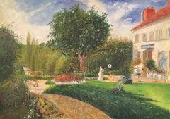 """Giardino des Mathurins"" Pissarro homage Impressionist Landscape Oil Painting"