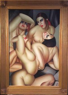 Art Deco Surrealist Nudes, Large Oil Painting, Stylish Frame