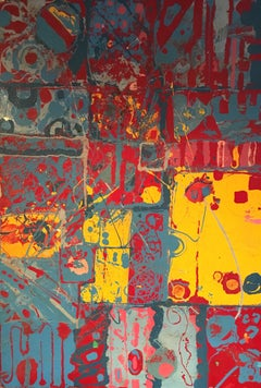 Large Colourful Abstract, Oil Painting, Primary Colours