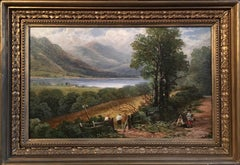 Antique Scottish Landscape, Circa 1800s, Loch Lomond, Signed Elegant Frame