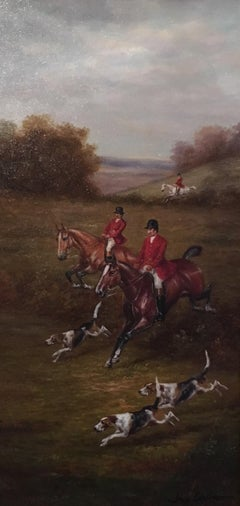 Fox Hunt Original Oil Painting (1), Impressionist Landscape, British, Signed