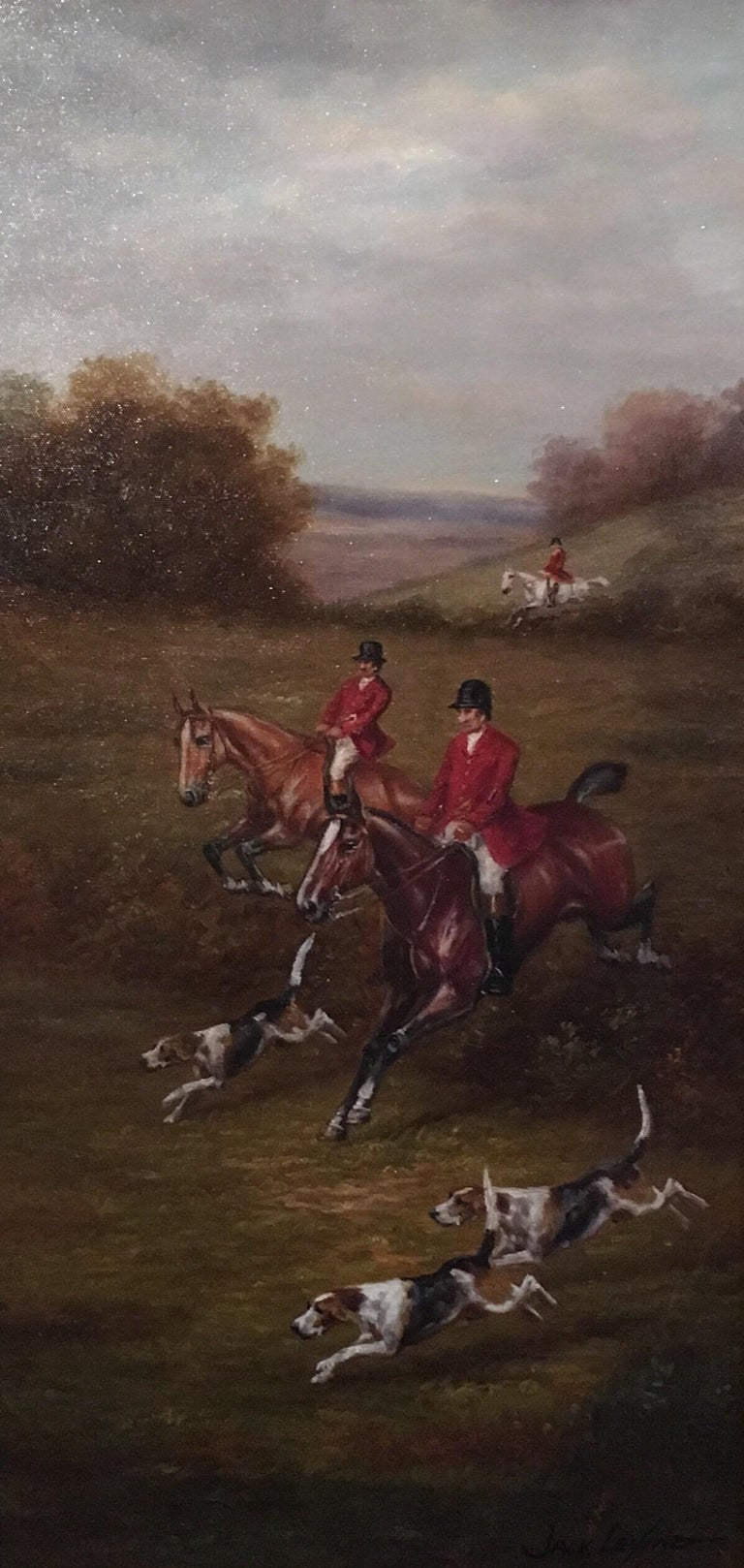 Fox Hunt Original Oil Painting, Impressionist Landscape, British, Signed By British artist Jack Levine, Mid 20th Century Signed by the artist on the lower right hand corner Oil painting on canvas, framed Framed size: 30 x 17.5 inches  Fabulously