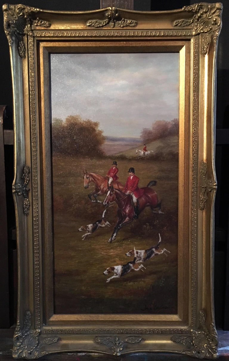 Fox Hunt Original Oil Painting (1), Impressionist Landscape, British, Signed For Sale 1