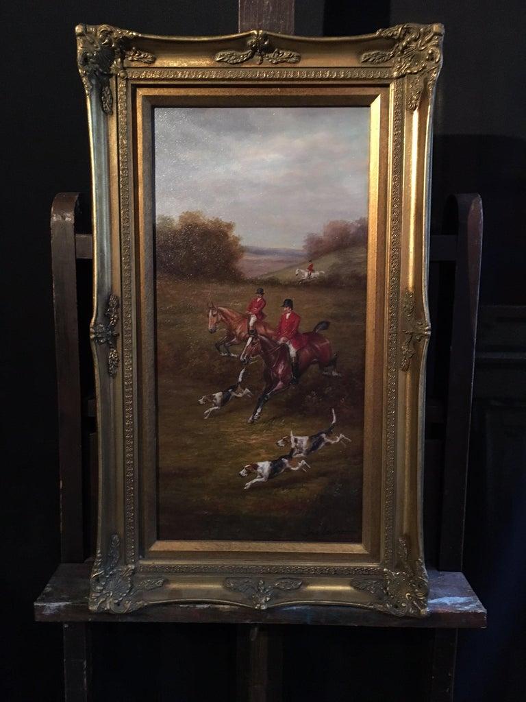 Fox Hunt Original Oil Painting (1), Impressionist Landscape, British, Signed For Sale 2
