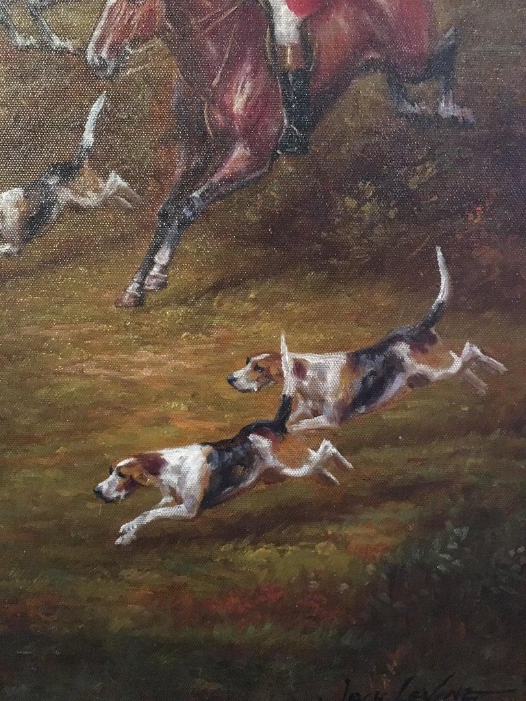 Fox Hunt Original Oil Painting (1), Impressionist Landscape, British, Signed For Sale 4