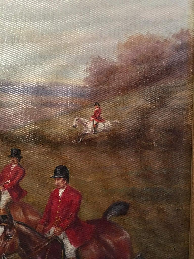 Fox Hunt Original Oil Painting (1), Impressionist Landscape, British, Signed For Sale 5